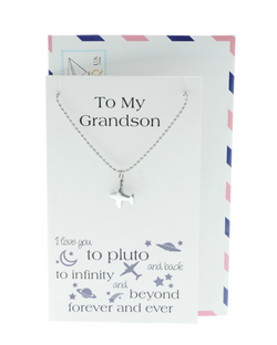 Tom Happy Birthday Cards Airplane Necklace Gifts for Grandson by Quan Jewelry