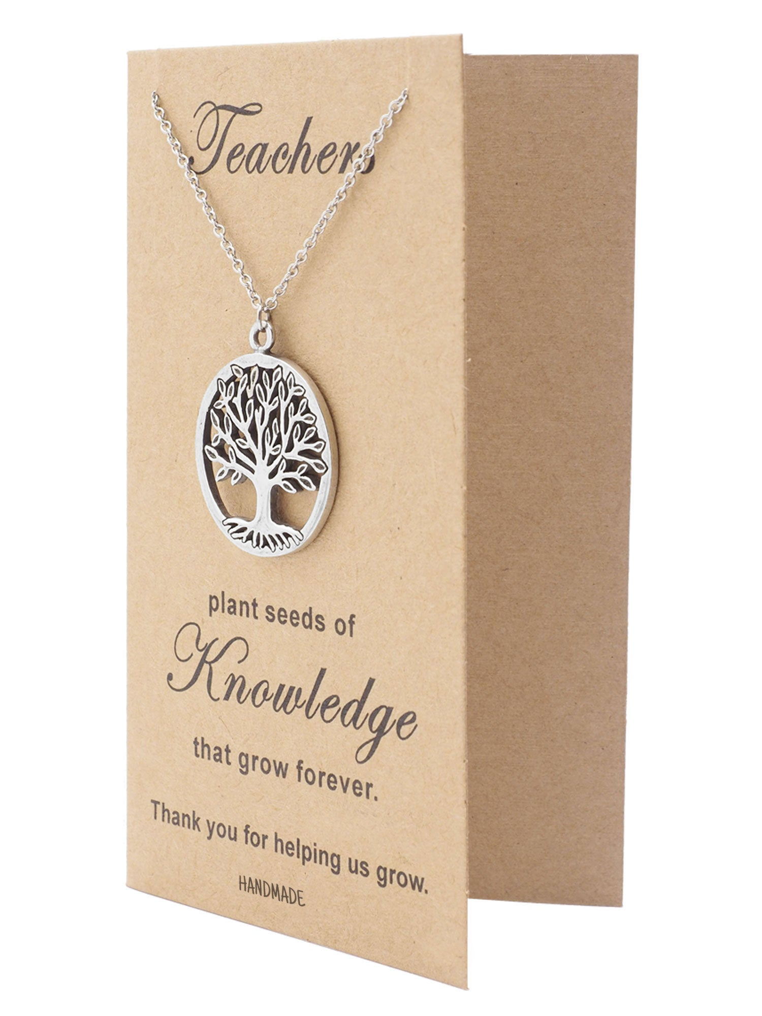 mia tree of life necklace with thank you cards teacher