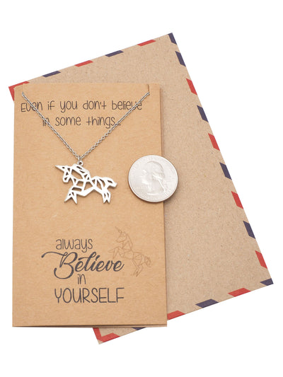 Coleen Gifts for Graduation Origami Unicorn Necklace Inspirational Jewelry - Quan Jewelry