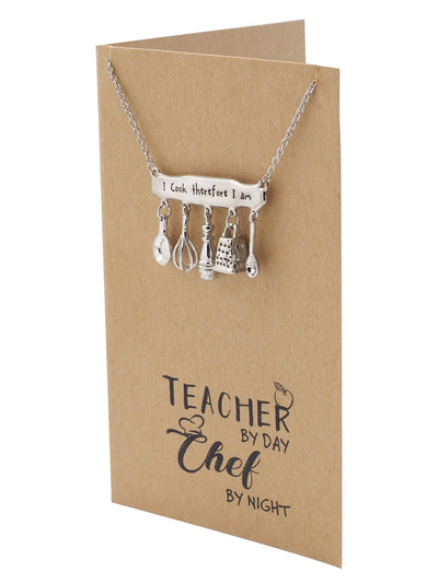 Jurie Engraved Gifts for Teachers and Chefs, Personalized Jewelry Charm Necklace