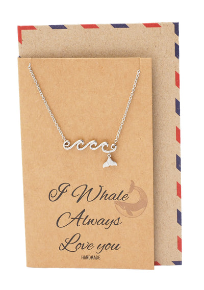 Irene Wave and Whale Tail Pendant Necklace for Women and Ocean Lover - Quan Jewelry