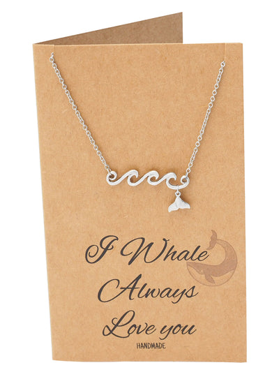 Irene Wave and Whale Tail Pendant Necklace for Women and Ocean Lover