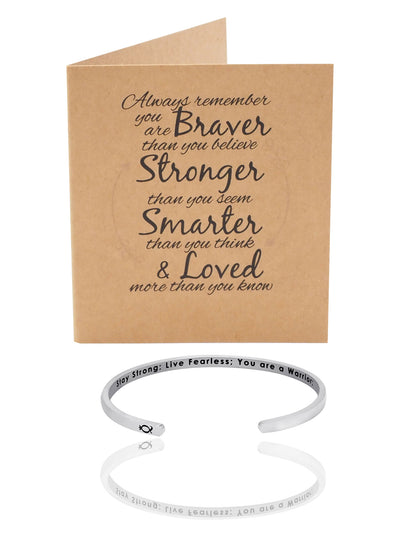 Bobby Brave Warrior Cuff Bracelet, Silver Tone, comes with an Inspirational Quote - Quan Jewelry