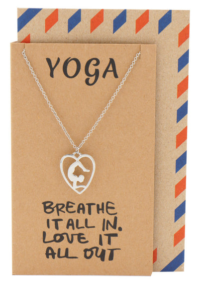 Piper Scorpion Yoga Pose Open Heart Necklace, Yoga Gifts, Silver - Quan Jewelry - 1