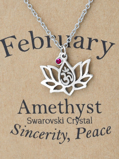 Keisha Birthday Cards Yoga Lotus Flower February Birthstone Necklace with OM Symbol