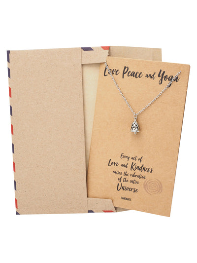 Matilda Love, Peace and Yoga Necklace, Yoga Jewelry, Gift for Women with Greeting Card