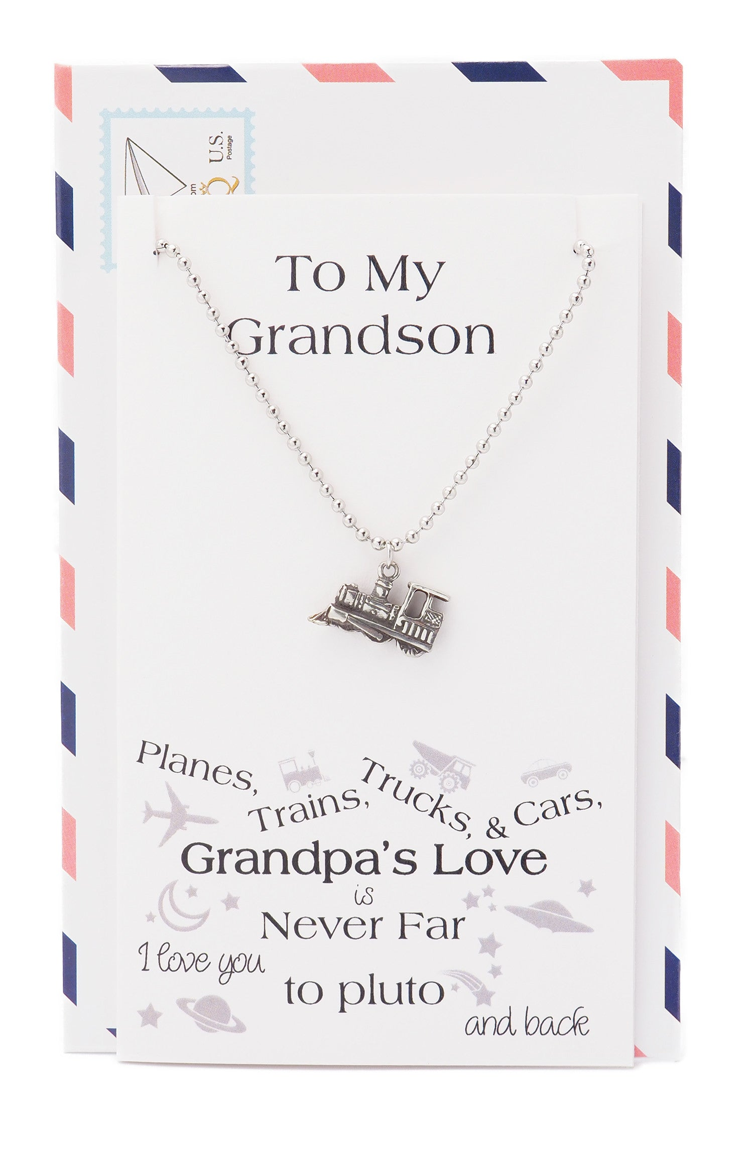 Zac Happy Birthday Cards Train Necklace Gifts for Grandson - Quan Jewelry