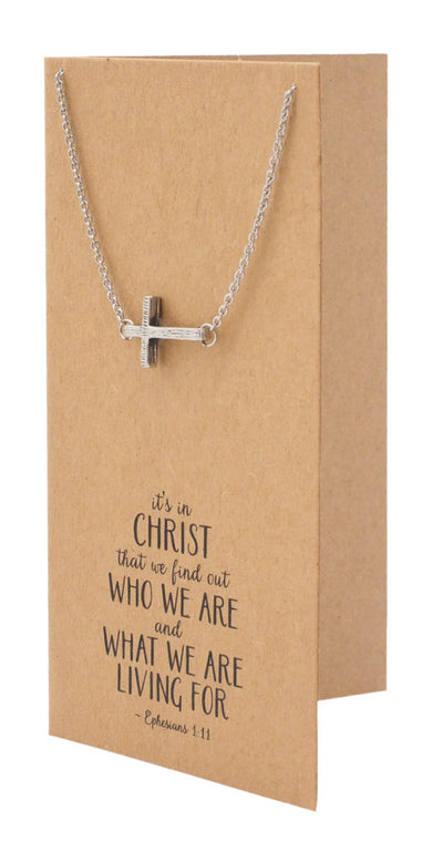 Clio Cross Necklaces for Women Bible Quotes Inspired Sideways Cross Jewelry - Quan Jewelry