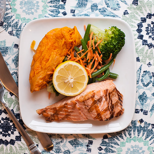 Grilled Salmon Filet w/ Mixed Veggies and Sweet Potato