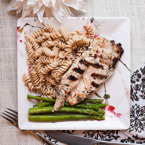 Grilled Chicken Breast w/ Whole Wheat Pasta and Asparagus