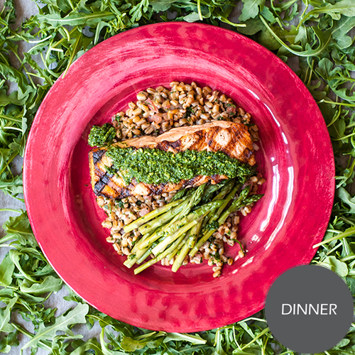 Grilled Salmon with Arugula Pesto
