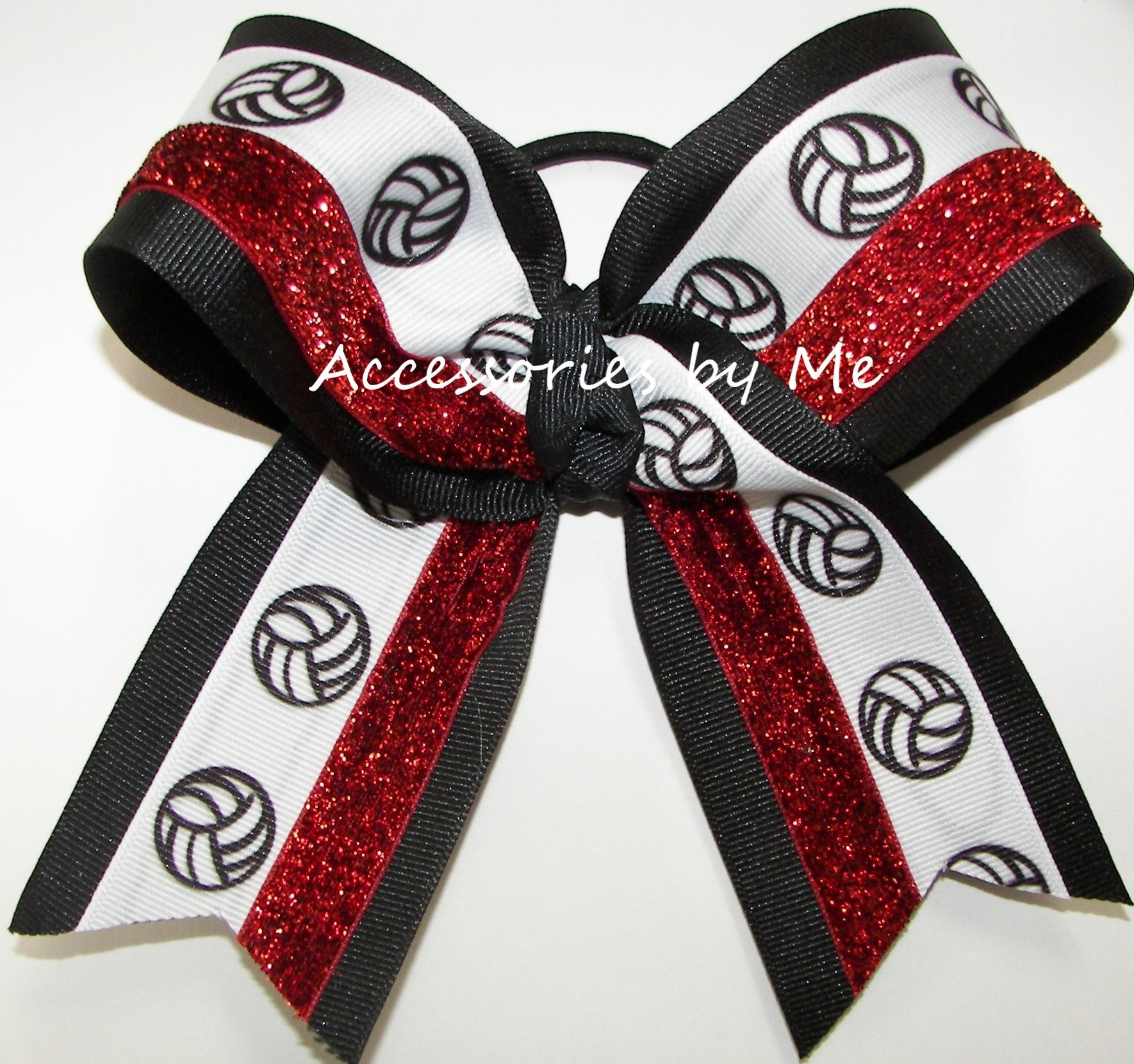 Volleyball Sparkly Red Black Hair Bow