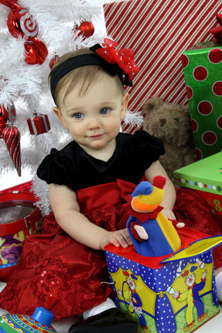 Glitzy Red Black Velvet Bow Baby Headband