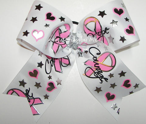 Breast Cancer Awareness Love Hope Courage Cheer Bow