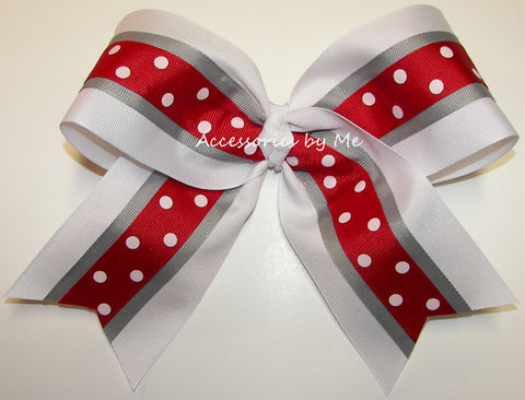 Red White Gray Big Cheer Bow