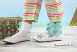 Turquoise Organza Ruffle Bow Socks - Accessories by Me
