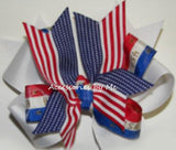 Patriotic Red White Blue US Hair Bow