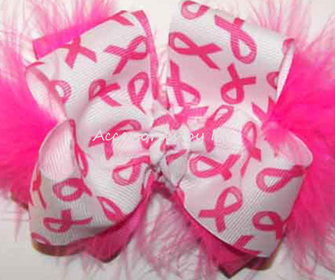 Breast Cancer Awareness Hot Pink Marabou Hair Bow