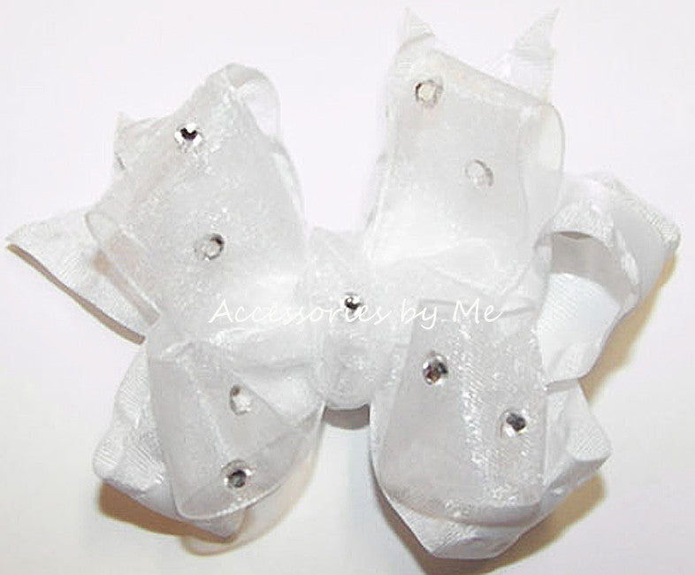 Glizty White Organza Ruffle Hair Bow - Accessories by Me