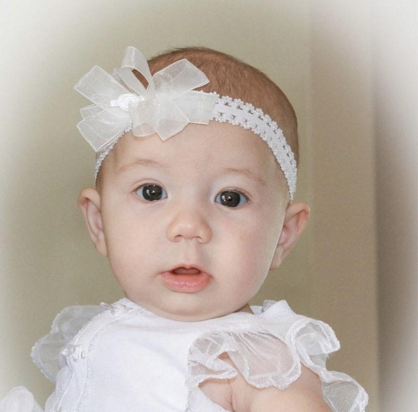 Baptism White Organza Bow Lace Headband