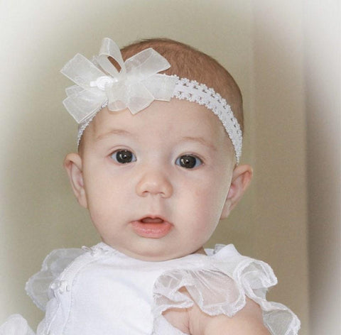 White Organza Rosette Bow Lace Headband