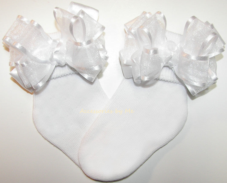 Baptism White Organza Satin Bow Socks - Accessories by Me