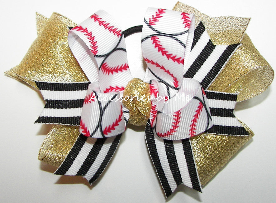 Baseball Red Black Gold Ponytail Bow