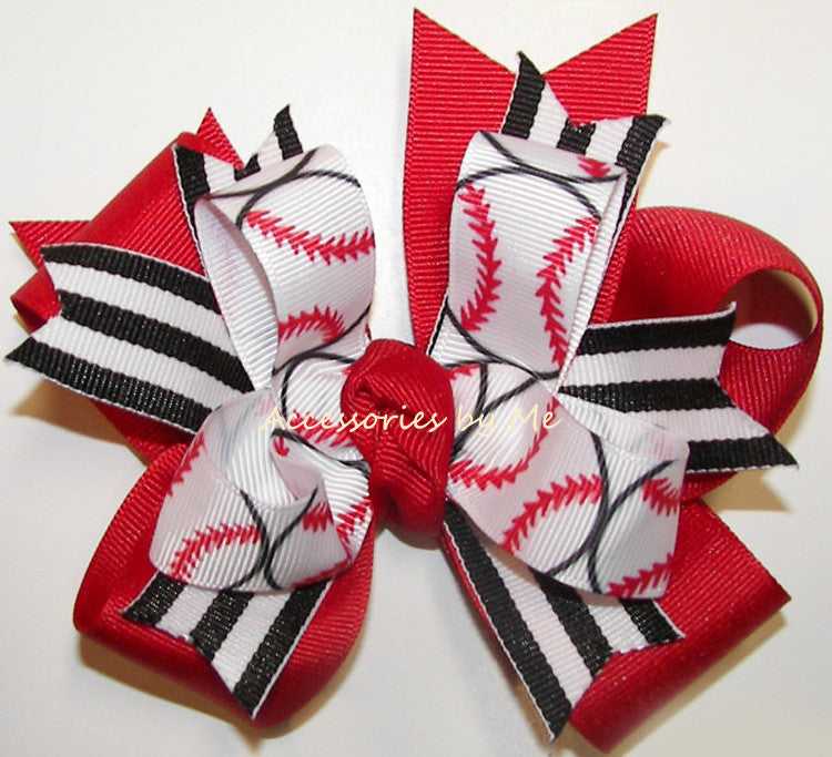 Baseball Ribbons Red Black Funky Ponytail Hair Bow - Accessories by Me