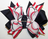 Softball Pigtail Hair Bows