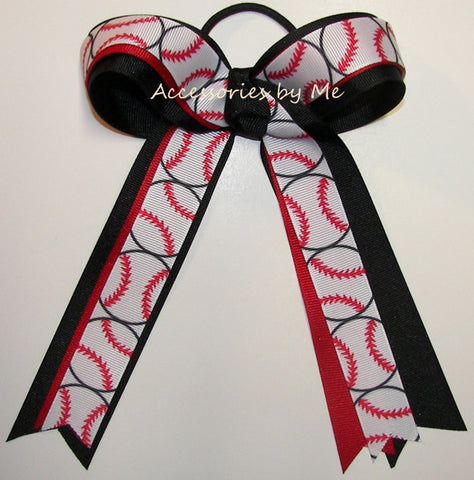 Softball Red Black Ponytail Holder Bow