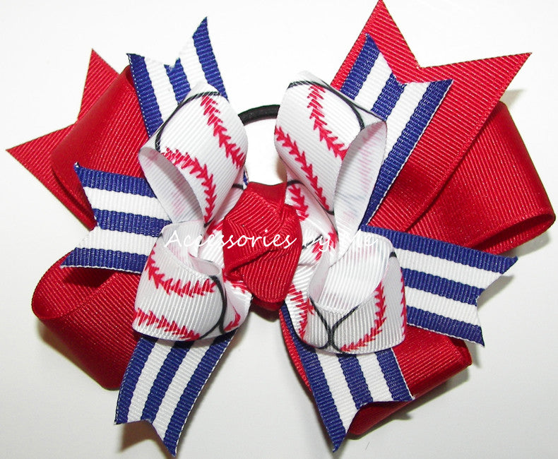 Baseball Ribbons Red Royal Blue Funky Ponytail Hair Bow - Accessories by Me
