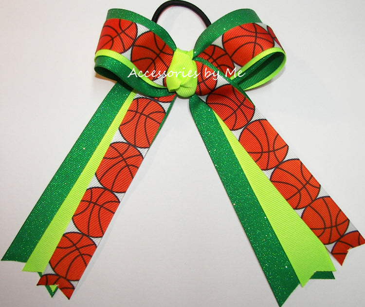 Basketball Neon Green Emerald Ribbons Bow