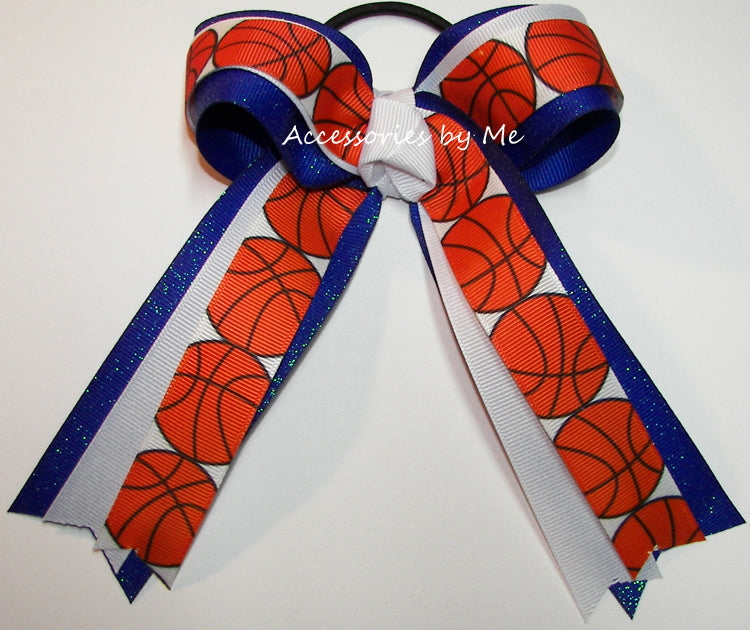 Basketball White Sparkly Royal Blue Bow