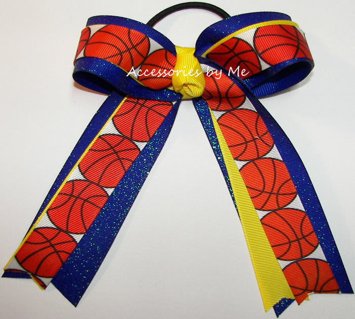 Basketball Royal Blue Yellow Ponytail Bow