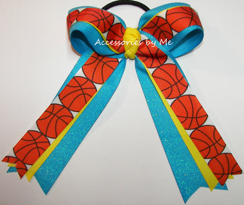 Basketball Turquoise Yellow Ponytail Holder Bow