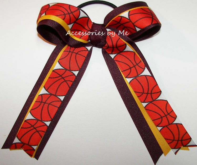 Basketball Maroon Gold Ponytail Bow