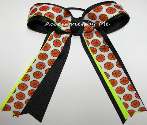 Basketball Neon Lime Black Ponytail Bow
