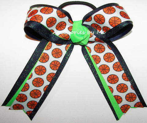 Basketball Neon Lime Navy Glitter Bow