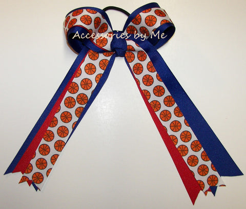 Basketball Red Blue Ponytail Holder Bow