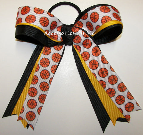 Basketball Yellow Gold Black Ponytail Holder Bow