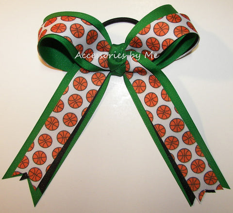 Basketball Green Black Ponytail Holder Bow