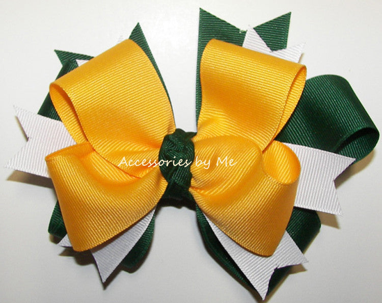 Green Yellow Gold White Cheer or Sports Ponytail Holder - Accessories by Me