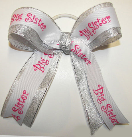 Big Sister Hot Pink Silver Ponytail Holder Bow