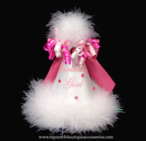 Girls Birthday Pink White Marabou Party Hat - Accessories by Me