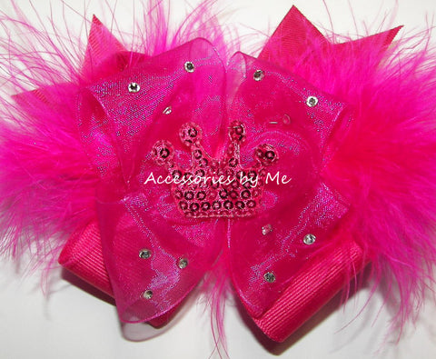 Glitzy Shocking Pink Tiara Marabou Hair Bow