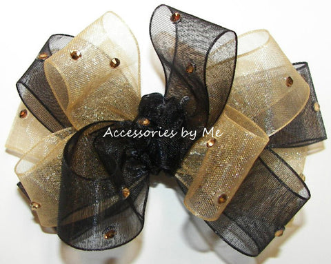 Glitzy Black Gold Organza Hair Bow