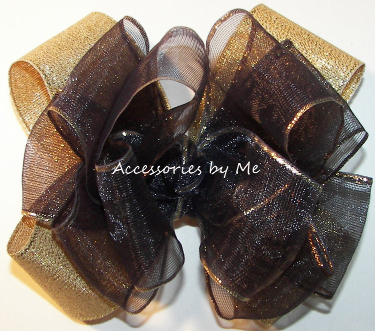 Black Gold Organza Metallic Hair Bow