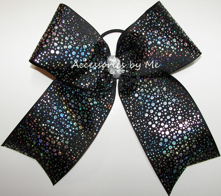Glitzy Black Holographic Foil Big Cheer Bow