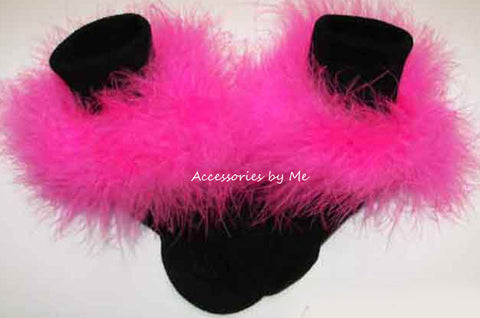 Hot Pink Marabou Black Socks