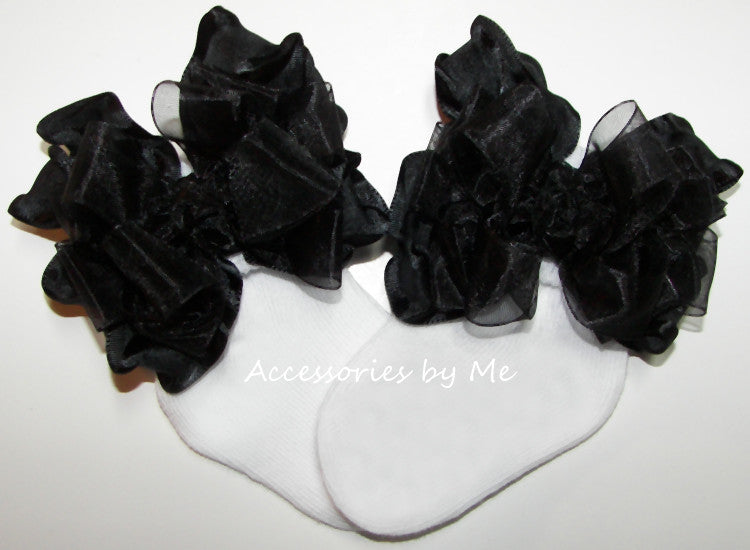 Black Ruffle Bow Socks